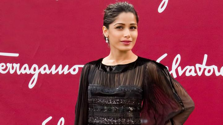 Freida Pinto At Salvatore Ferragamo Cruise 2013