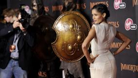 Freida Pinto Modeling Pose At Immortals Premiere