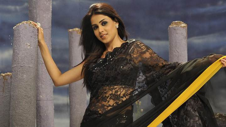 Genelia D'Souza In Black Saree Modeling Pose In Naa Ishtam