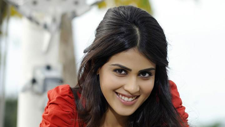 Genelia D'Souza Smiling In Red Top In Naa Ishtam