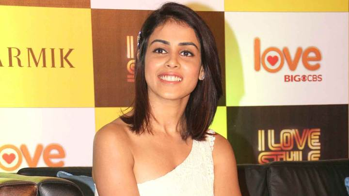 Genelia D'souza Smiling Sitting Pose At Big Cbs Love Press Meet