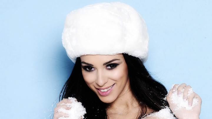 Georgia Salpa Wearing White Furr Cap At Lili Forberg Photoshoot
