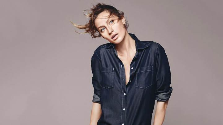 Gisele Bundchen In Blue Shirt At Esprit Summer