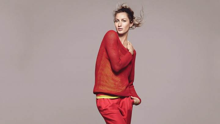 Gisele Bundchen In Red Dress At Esprit Summer