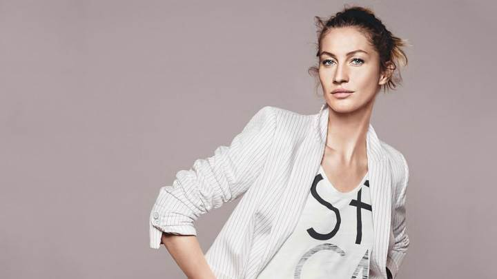 Gisele Bundchen In White Dress Looking Front At Esprit Summer