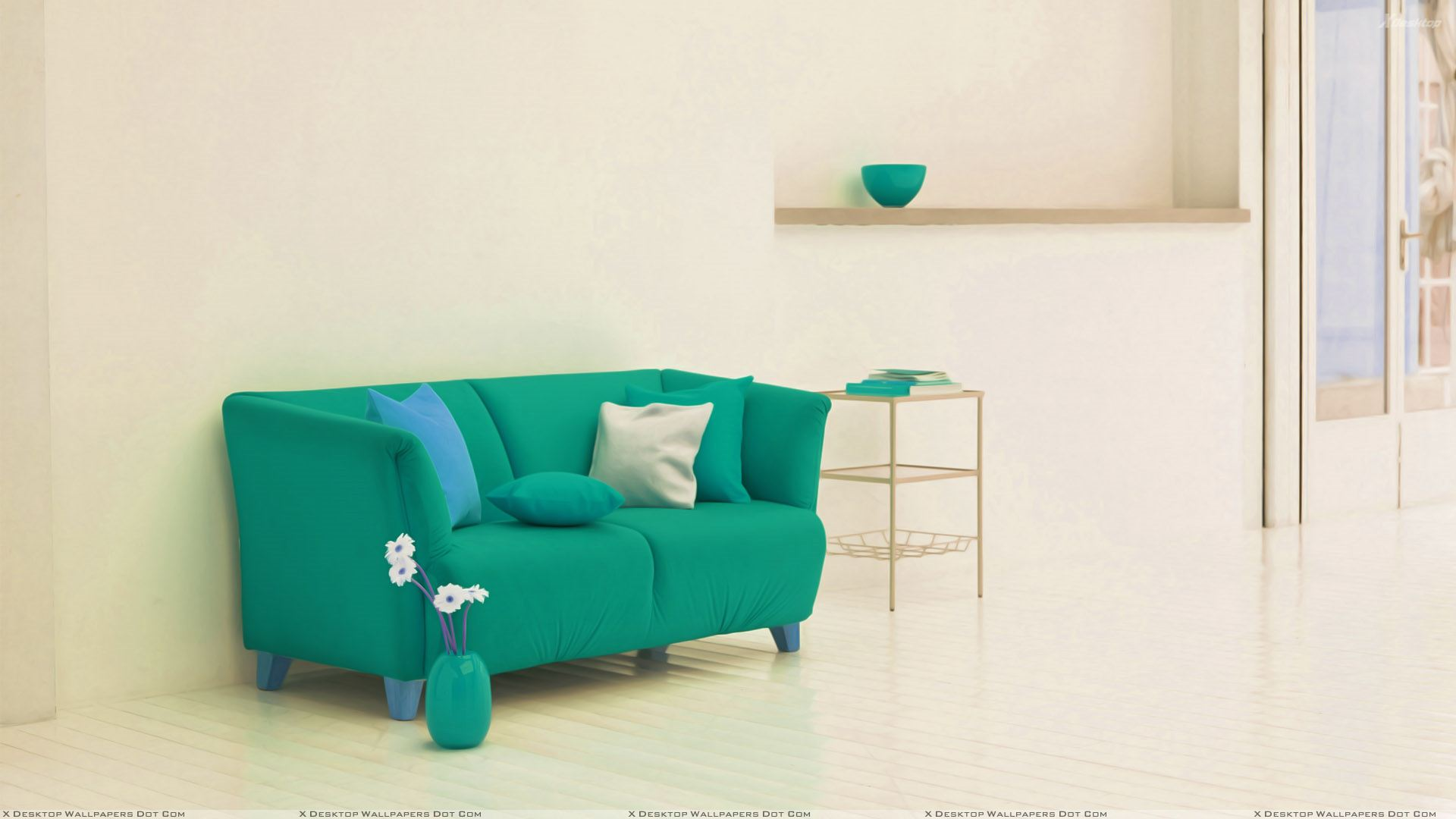 Green Sofa Near Rack And White Background