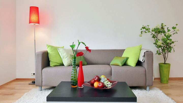 Grey Sofa Set And White Background And Fruits on Table