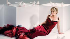 Hayden Panettiere Sitting In Long Red Dress