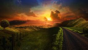 Heaven Path At Sunset Scene