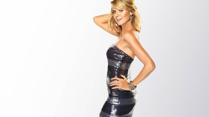 Heidi Klum In Grey Shine Dress Side Modeling Pose