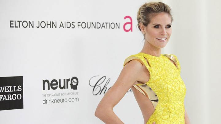 Heidi Klum In Yellow Dress At Elton John AIDS Foundation Academy Awards