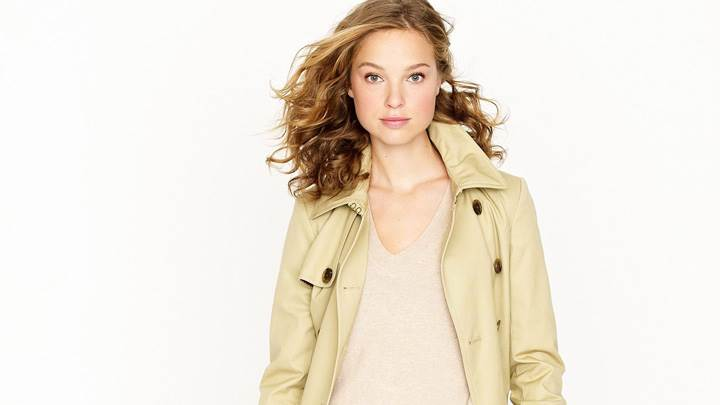 Heloise Guerin In Cream Coat At JC Crew Photoshoot