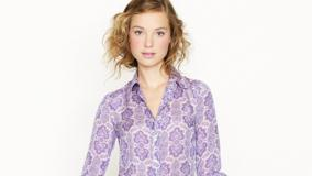 Heloise Guerin In Purple Shirt At JC Crew Photoshoot