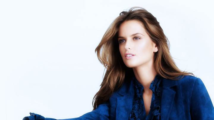 Izabel Goulart In Blue Coat And White Background