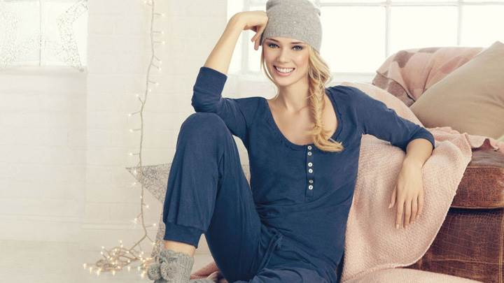 Jacqui Ainsley Sitting In Blue Nightie N Woollen Cap