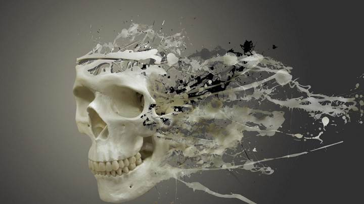 Liquefied Skull And Grey Background