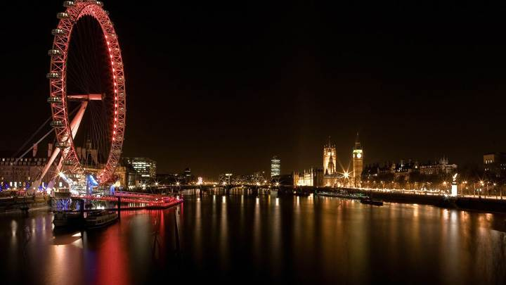 London Ferris Wheel At Night Scene