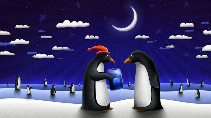 Lots Of Penguin In Blue Night