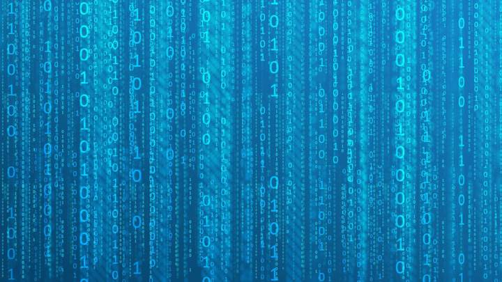 Matrix Binary On Blue Background