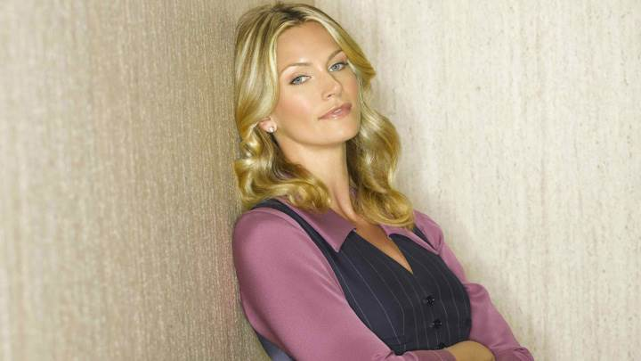 Natasha Henstridge Standing With Wall And Golden Shining Hairs