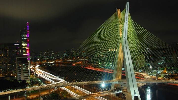 Octavio Frias De Oliveira Bridge In Night View