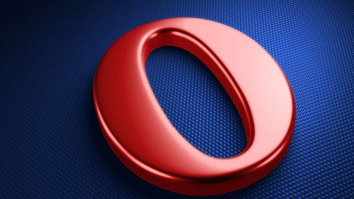 Opera LoGo On Blue Dotted Background