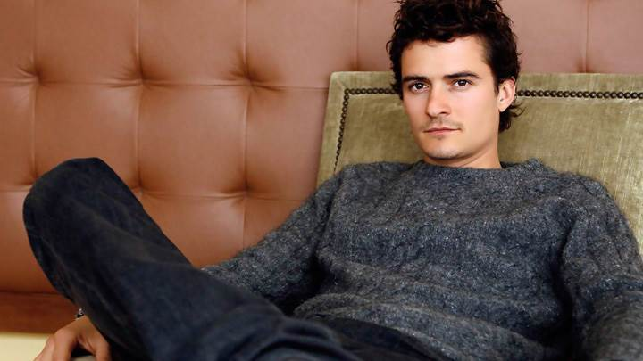 Orlando Bloom in Woolen Dress Sitting Pose