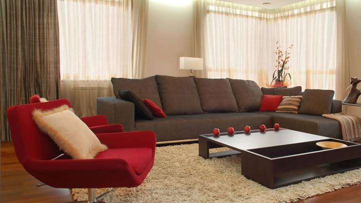 Red And Grey Sofa in Resting Room