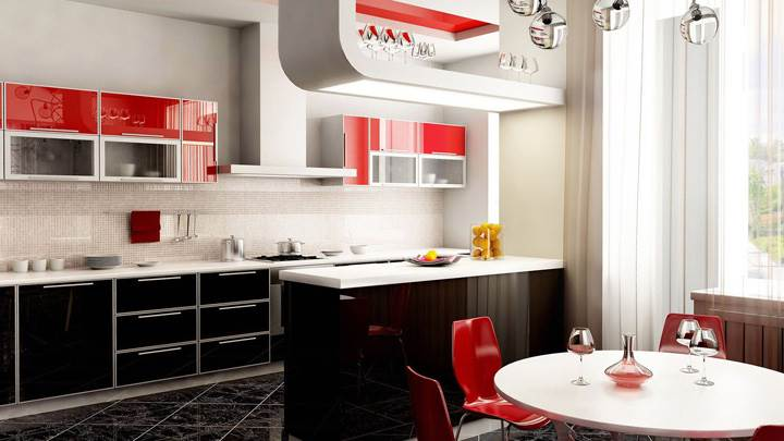 Red And White Nice Kitchen Interior