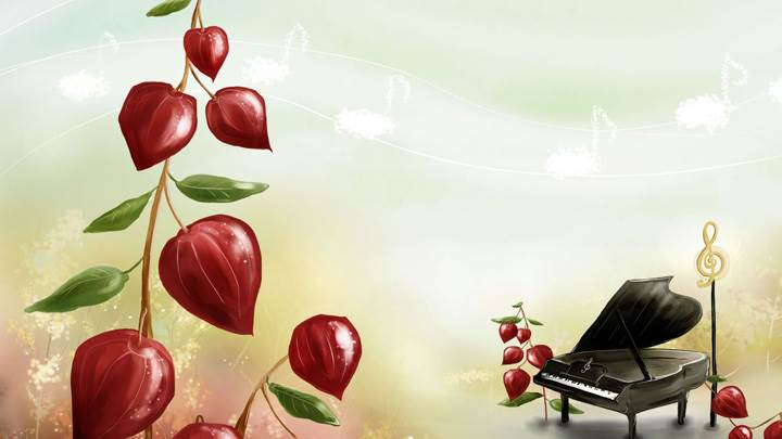 Red Flowers And Piano