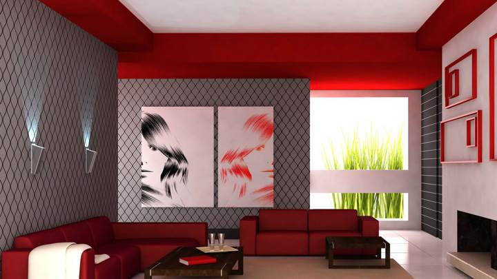 Red Sofa And Colorful Background in Guest Room