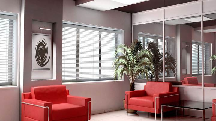 Red Sofa Set And White Background in Waiting Room