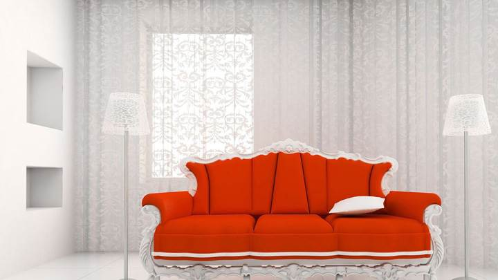 Red Sofa Side Lamps And White Background