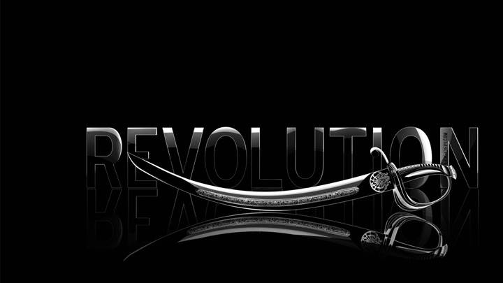 Revolution LoGo With Sword On Black Background