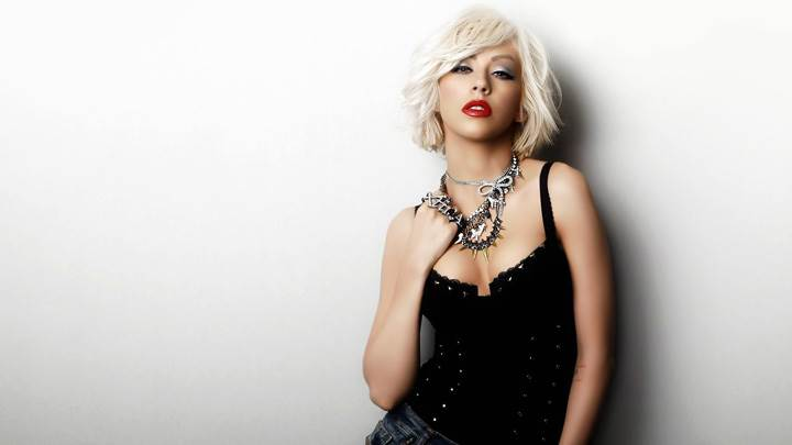 Christina Aguilera Modeling Pose In Black Dress Red Lips