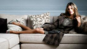 Sitting Pose Of Alessandra Ambrosio On Sofa