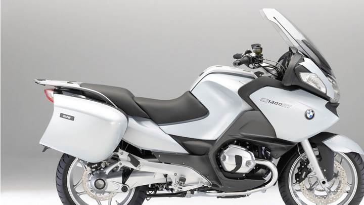 Side Pose Of BMW R1200RT In White
