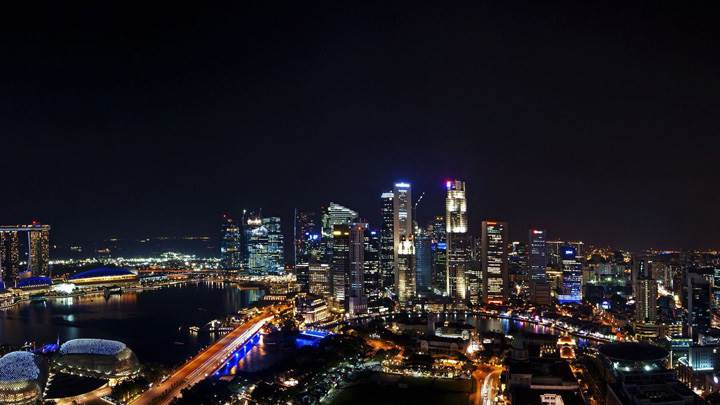 Singapore Building Night Scene