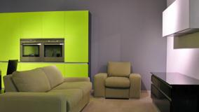 Sofa Set And Grey Background