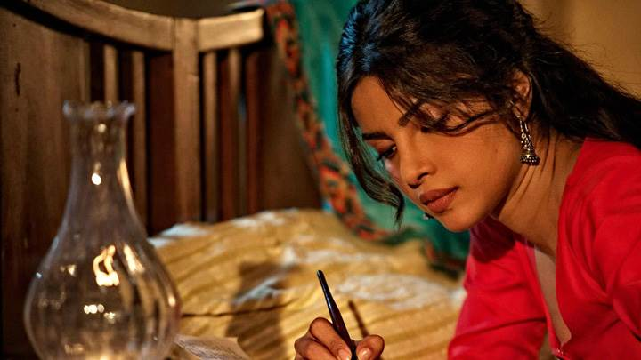 Teri Meri Kahaani – Priyanka Chopra Writing In Red Dress