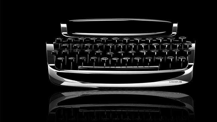 Typewriter Closeup On Black Background