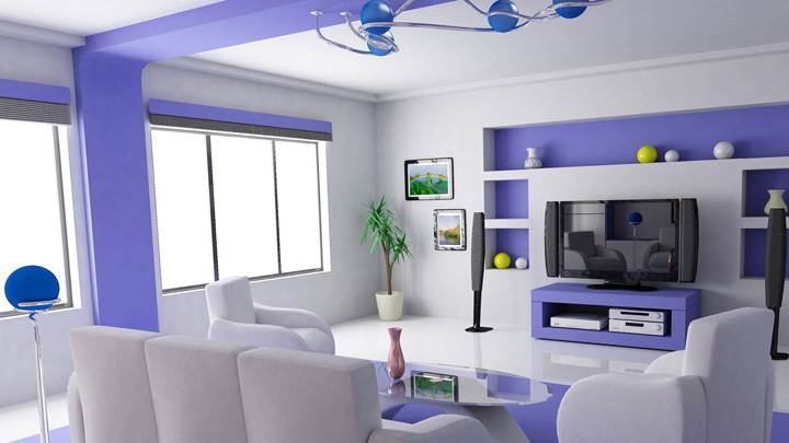 White And Blue Interior in Home Theater Room