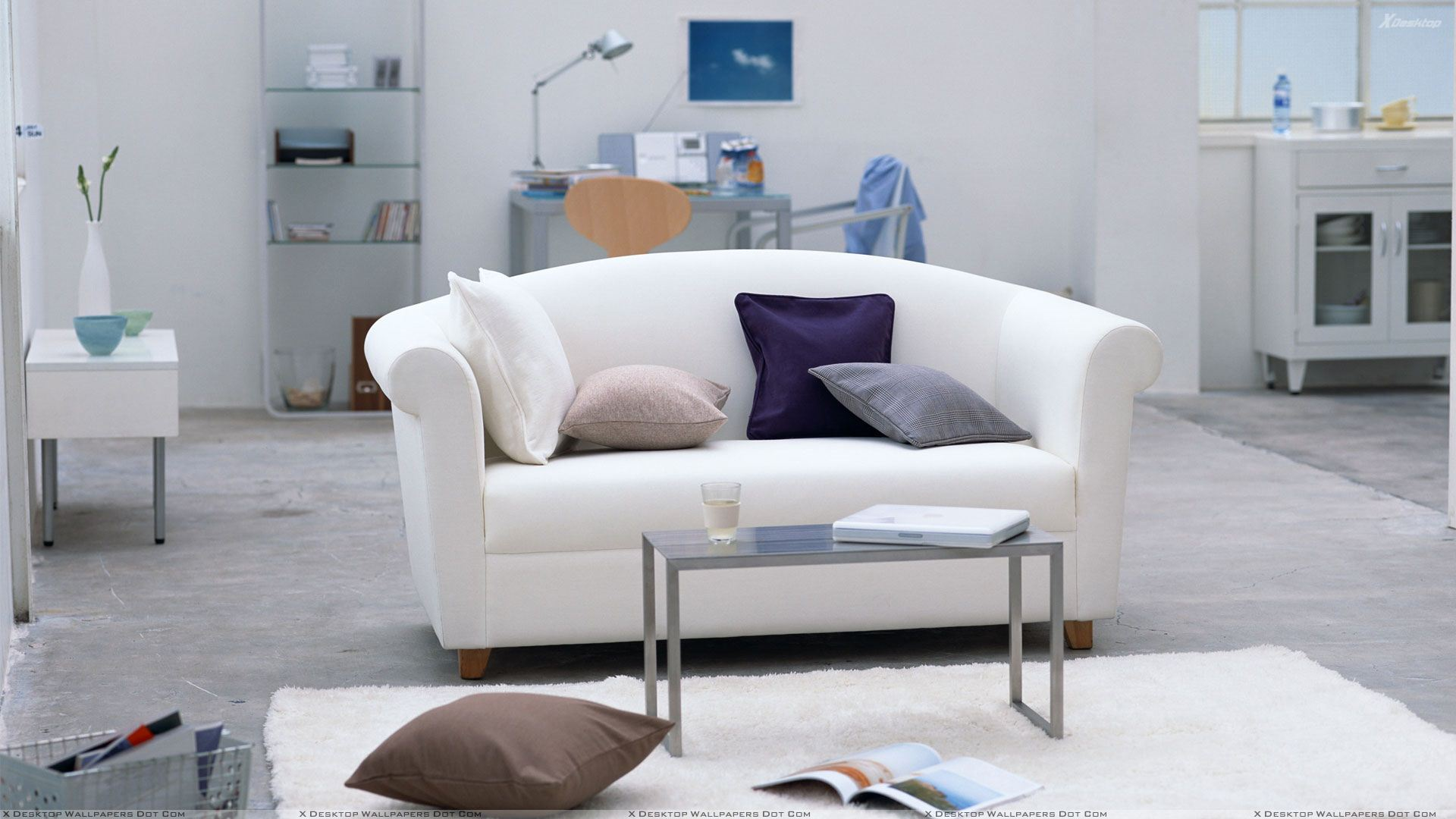 White Sofa And Table In Study Room