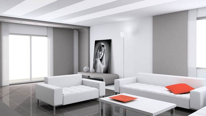 White Sofa And White With Grey Background