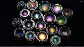 Camera Lenses Closeup N Black Background
