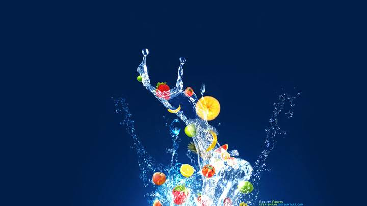 Fruits Abstract Art on Blue Background