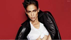 Jennifer Lopez In Black Jacket At Mario Testino Photoshoot N Red Background