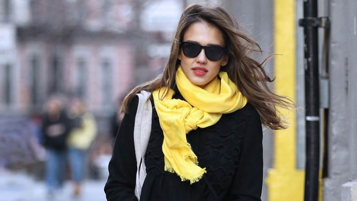 Jessica Alba In Woollen Dress N Yellow Stole In New York