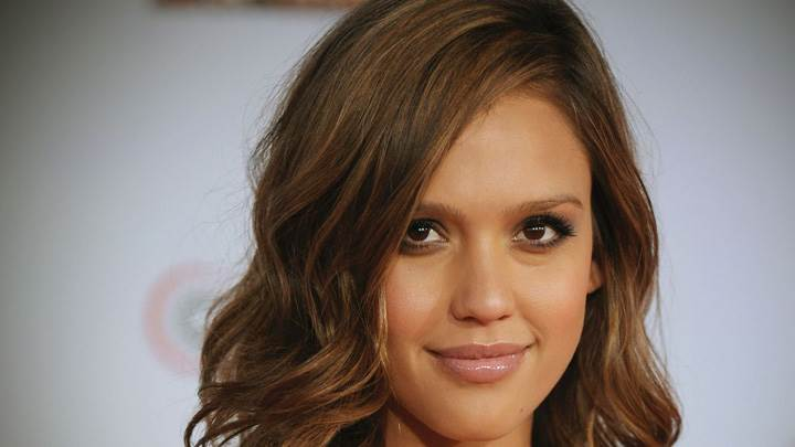 Jessica Alba Smiling Glossy Lips Face Closeup