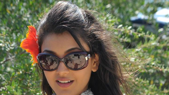 Kajal Aggarwal In Black Goggles Sweet Face Closeup